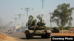 A military tank is seen in Juba. South Sudan's former deputy minister of defense says intervention by the international community to restore peace in the capital. (Courtesy photo)
