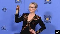 Meryl Streep, prix Cecil B. DeMille, cérémonie des Golden Globes, Beverly Hilton Hotel, Californie, le 8 janvier 2017.