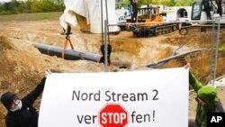 Акция протеста против «Северного потока-2» в Германии