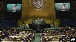 Suasana Sidang Majelis Umum PBB hari ketiga saat Presiden Zimbabwe Robert Mugabe menyampaikan pidato di New York, Rabu (21/9).