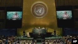 Robert Mugabe, na 71a Assembleia Geral das Nações Unidas, 21 de Setembro, 2016.