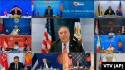 Vietnam ASEAN- Ngoại trưởng Mỹ Mike Pompeo phát biểu tại cuộc họp trực tuyến với Ngoại trưởng các nước ASEAN hôm thứ Năm, 10/9/2020. Ảnh chụp từ màn hình do VTV cung cấp