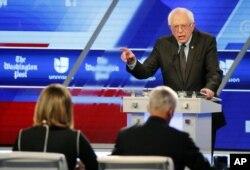 Democratic presidential candidate, Sen. Bernie Sanders, I-Vt, speaks at the Univision-Washington Post Democratic presidential debate at Miami-Dade College in Florida, March 9, 2016.