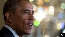 30일 바락 오바마 대통령이 백악관에서 기자회견을 하고 있다.