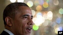 美国总统奥巴马在白宫记者招待会上讲话(资料照)