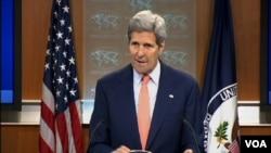 Menlu AS, John Kerry memberikan keterangan kepada media mengenai Laporan Praktek HAM di dunia untuk tahun 2014, Kamis (26/6).
