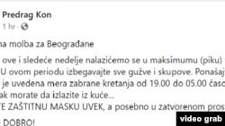 Predrag Kon apelovao je na Fejsbuku na građane da nose maske