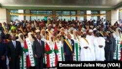Les membres du conseil constitutionnel du Cameroun lors de leur prise de fonction à Yaoundé, au Cameroun, le 6 mars 2018. (VOA/Emmanuel Jules Ntap)