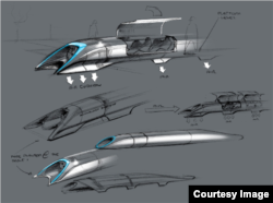 Hyperloop is depicted in a drawing released by Elon Musk.