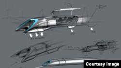 L'Hyperloop, représenté dans un dessin publié par Elon Musk