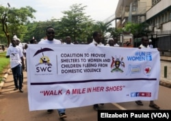 A number of civil society organizations came together, inviting the community to talk about violence against women openly, Kampala, Uganda, Dec. 5, 2015.