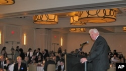 Virginia Congressman Jim Moran addresses Arab-American voters at a recent candidates' night event.