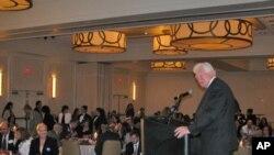Virginia Congressman Jim Moran addresses Arab-American voters at a recent candidates' night event.