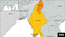 Bản đồ cho thấy khu vực Kachin ở Miến Điện.