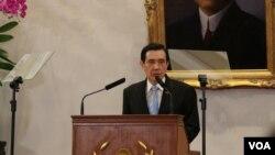 台湾总统马英九在马习会前夕召开中外记者会。(美国之音记者李逸华拍摄)