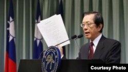 台外长杨进添就日本购买钓鱼台召见日本驻台代表并举行记者会中表示抗议 (图片来源:中央社)