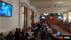 Previo a la votación, el embajador de Venezuela solicitó proyectar un video que resumía las acciones del pasado 5 de enero en el que militares bloquearon el paso de Juan Guaidó a la sede de la Asamblea Nacional. La resolución se aprobó con 20 votos. Foto Herbert Zepeda.