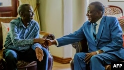FILE: Zimbabwe's President Emmerson Mnangagwa (R) shakes hands with the leader of the Movement for Democratic Change (MDC), the country's main opposition party, Morgan Tsvangirai (L), who has been battling cancer, during a visit at his home in Harare on January 5, 2018. The visit came as Zimbabwe's political parties prepare to begin campaigning for elections due later this year -- the first since former president stood down following a brief military takeover. / AFP PHOTO / Jekesai NJIKIZANA
