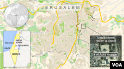 Map of Jerusalem showing Al-Aqsa mosque