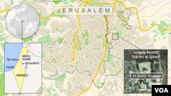 Carte de Jérusalem avec le site de la mosquée d'Al-Aqsa mosque