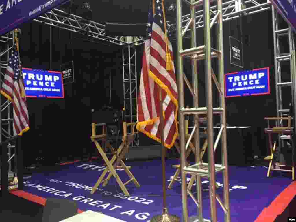 """A Trump/Pence campaign interview location in """"Spin Alley"""" near the stage for the vice presidential debate in Farmville, Virginia."""