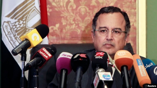 Egypt's new foreign minister, Nabil Fahmy, speaks during a news conference in Cairo, July 20, 2013.