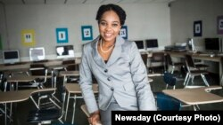 Elmont Memorial High School valedictorian Augusta Uwamanzu-Nna who has won acceptance to all 12 schools she applied for including eight Ivy League universities. The High School Senior was also the first in her school's history to be a 2016 Intel Science Talent Search national finalist.(Photo courtesy of Newsday)