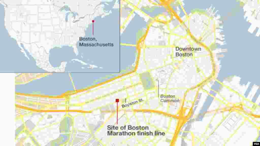 Фініш марафону позначено на мапі Бостона.