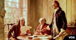 بنجامین فرنکلین، جان ادمز و توماس جفرسون، نگارش اعلامیه استقلال آمریکا، نقاشی از جان لئون جروم فریس