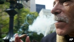 Stephen Helfer, de Cambridge, Mass., fuma un tabaco en City Hill Park el 14-10-10 en Nueva York.