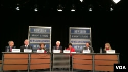 美國智庫亞洲協會等星期二發佈《美國對華政策:向新政府建言》的報告。圖文報告的部分撰稿人(從左至右)前駐華大使溫斯頓洛德 、前負責東亞和太平洋事務的前助理國務卿坎貝爾、美國前貿易代表巴爾舍夫斯基、亞洲協會主席美中關係中心主任夏偉、加州大學圣迭哥全球政策和戰略學院,21世紀中國研究中心學術主任謝淑麗、前白宮國安會亞洲事務資深主任麥艾文。