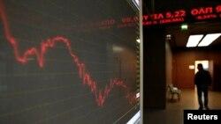 2015年1月28日的雅典股票交易所。