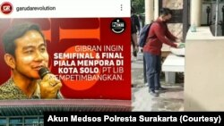 Unggahan dan komentar Arham di media sosial. (Foto: Courtesy/Akun Medsos Polresta Surakarta)