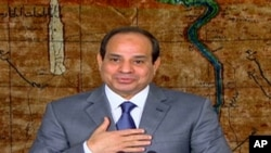 FILE - Egyptian President Abdel-Fattah el-Sissi speaks in a nationally televised broadcast in Cairo.