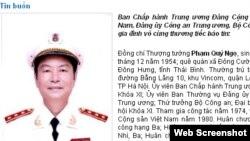 Thông báo về cái chết của ông Ngọ trên trang web của Bộ Công an Việt Nam hôm 19/2.
