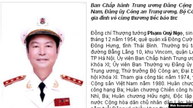 Pham Quy Ngo's death announcement is seen on the website of the Vietnam Ministry of Public Affairs.
