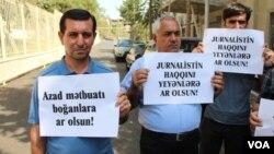"""""""Azadlıq"""" qəzetinin kollektivi """"Qasid"""" Firmasının ofisi qarşısında etiraz aksiyası keçirib"""