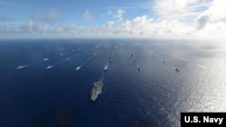 Tàu chiến của các nước tham gia RIMPAC 2016. Việt Nam đã gửi 8 sỹ quan nhưng không cử tàu chiến tới Hawaii trong lần đầu tiên tham giam dự Cuộc tập trận hải quân đa phương lớn nhất trên thế giới năm nay.