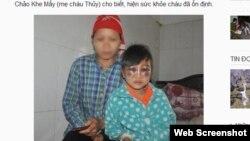 Chị Chảo Khe Mẩy và con gái tại bệnh viện. Ảnh chụp màn hình trang web phunutoday.vn