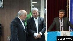 سهمانی مدیر عامل جدید بانک رفاه(راست) ربیعی وزیر کار(وسط) و صدقی مدیر عامل پیشین بانک رفاه(چپ)
