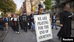 Manifestación contra el aborto en Nueva York. Hace 40 años se legalizó la interrupción del embarazo en Estados Unidos.