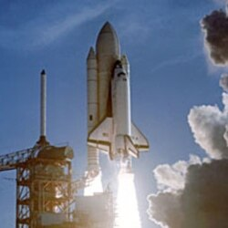 Space shuttle Columbia lifts off on its first flight in April 1981.