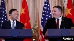 د امریکا د بهرنیو چارو وزیر مایک پمپیو او لوړپوړي چینایي دپلومات یانک جیچي