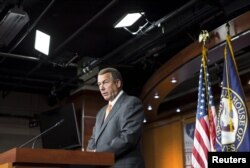 House Speaker John Boehner, an Ohio Republican, says at a news conference on Capitol Hill in Washington that his party would press its fight against the nuclear deal with Iran, Sept. 10, 2015.
