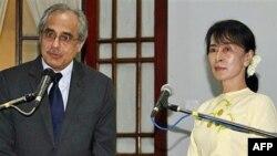 Ðặc sứ LHQ Vijay Nambiar (trái) và bà Aung San Suu Kyi tại cuộc họp báo ở Rangoon, Miến Ðiện, ngày 16 tháng 2 2012