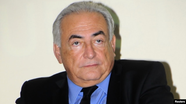 Former IMF head Dominique Strauss-Kahn looks on during a news conference at the Private University of Marrakech, Sept. 21, 2012.