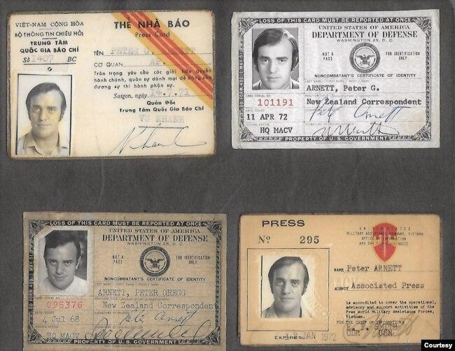 Thẻ nhà báo của Peter Arnett do Bộ Thông Tin Chiêu Hồi VNCH và Bộ Quốc Phòng Hoa Kỳ cùng hãng thông tấn AP cấp phát. (Hình: Peter Arnett cung cấp)