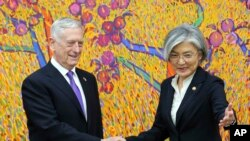 韩国外长康京和在韩国外交部欢迎美国国防部长马蒂斯(2017年10月27日)