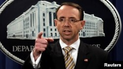FILE - Deputy Attorney General Rod Rosenstein during a news conference at the Justice Department in Washington, Oct. 17, 2017.