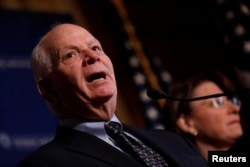 Senator Ben Cardin (D-MD) speaks at a press conference on the need for increased government transparency at the Capitol in Washington, D.C., March 15, 2017.